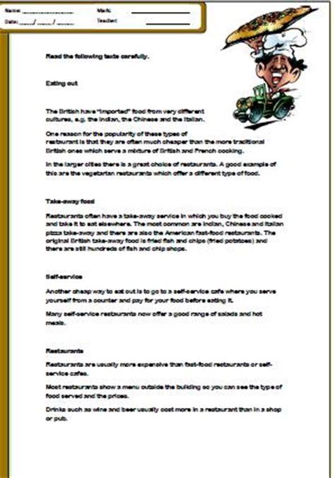 reading comprehension test about food food reading comprehension worksheet
