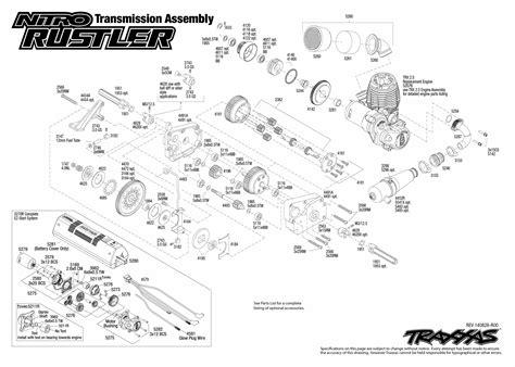 traxxas rustler parts diagram nitro rustler 44094 1 transmission assembly exploded