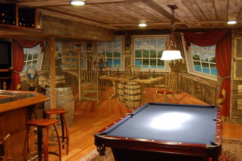 Lighting Over Kitchen Island pirate ship murals in lower level and bar by tom taylor of