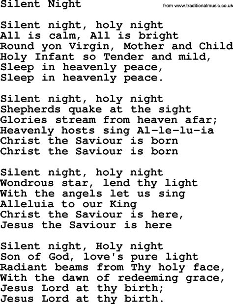 printable lyrics to silent night willie nelson song silent night lyrics