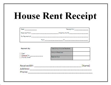 House rent receipt format new calendar template site