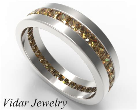 Fancy Chocolate Brown Diamond Wedding Band In White Gold