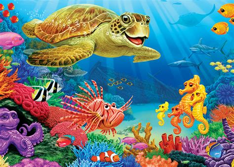 undersea turtle tray puzzle outset media games
