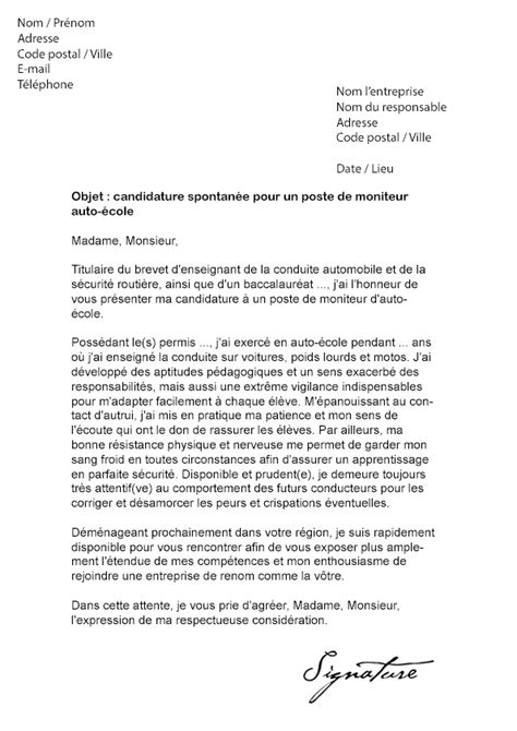 Lettre De Motivation Ecole Bilingue Lettre De Motivation Moniteur Auto 233 Cole Mod 232 Le De Lettre