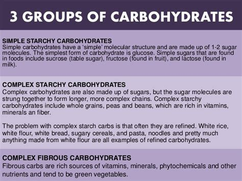 3 carbohydrates groups carbohydrates