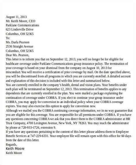 Employment Benefit Letter termination letter format