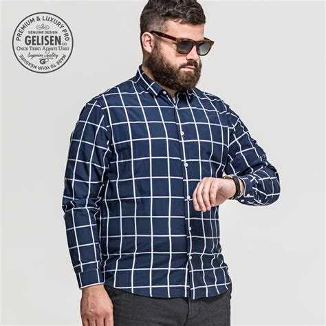 big men style over 40 and overweight gelisen brand men s shirts plus size fashion classic plaid
