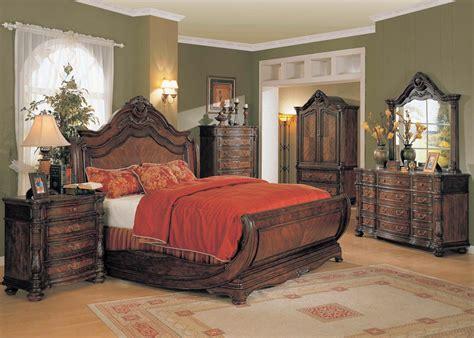 King Size Sleigh Bedroom Sets by Yuan Jasper 4pc King Size Sleigh Bedroom Set In Cherry