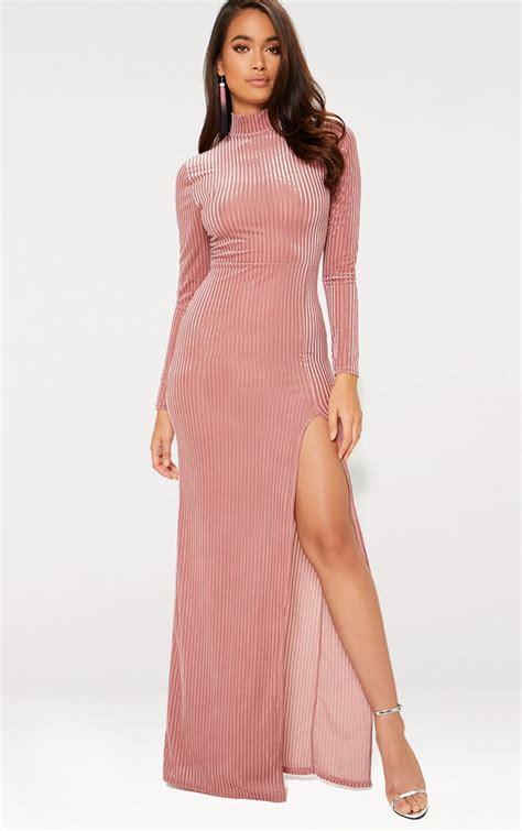Maxi Dusty Pink dusty pink high neck sleeve split maxi dress