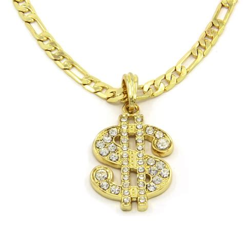 money sign charm gold plated pendant 24 quot figaro