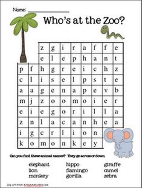 printable zoo animal word search 1000 images about zoo unit on pinterest word search