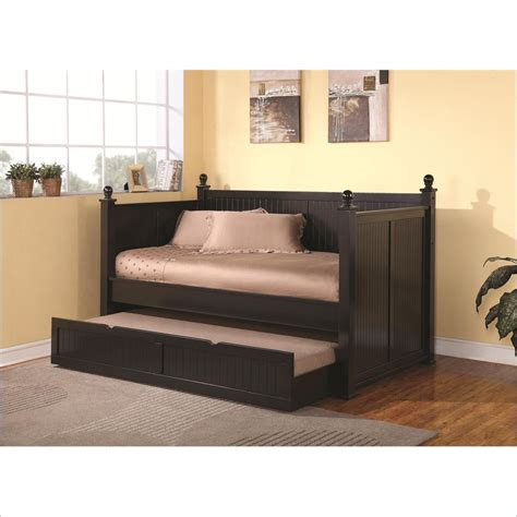 Wood Daybed With Trundle Wood Daybed With Trundle In Satin Black 300027