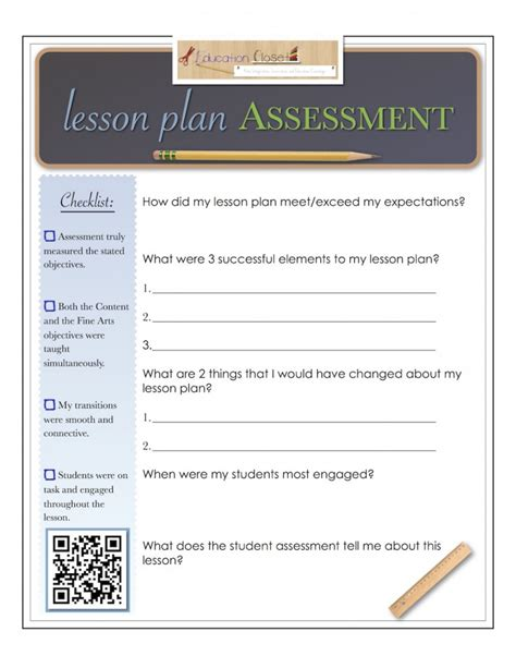 lesson plan checklist template downloadable template lesson plan assessment
