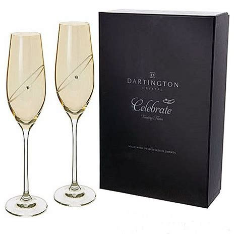 dartington wine glasses set of 6 sands gifts dartington chagne flutes golden with swarovski
