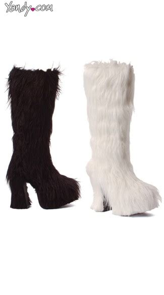 faux fur high heel boots shaggy faux fur knee high boots with chunky heel 5 inch