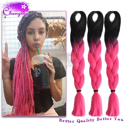 Xpression Hair Braiding With Pink Box | 10pcs lot ombre kanekalon braiding hair 1b pink kanekalon
