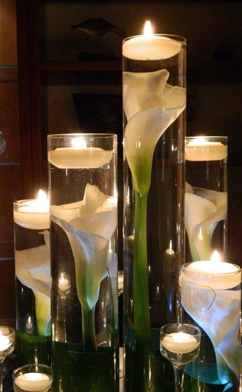 Water In Vases by Submerged Calla Water Scent Floating Candles