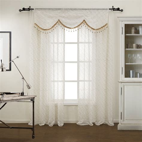 curtain rod valance twopages one panel modern figure sheer curtain with