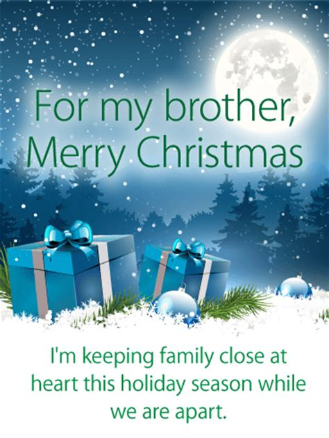 thoughtful merry christmas card  brother birthday greeting cards  davia