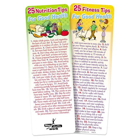nutrition  fitness tips  good health  sided bookmark