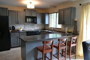 Oak wood cabinets painted chelsea gray by benjamin moore mineral jet