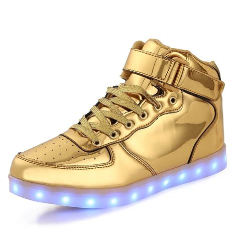 Gold Shoes by Led Shoes High Top Gold