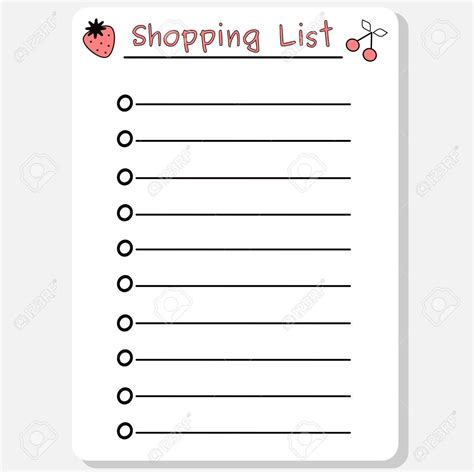 Pink List White shopping list clipart black and white exles and forms