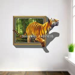 tiger 3d wall stickers fake windows jungle bedroom living