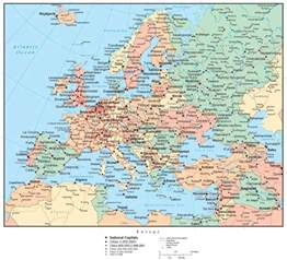 country map with cities europe map with countries capitals cities roads and water
