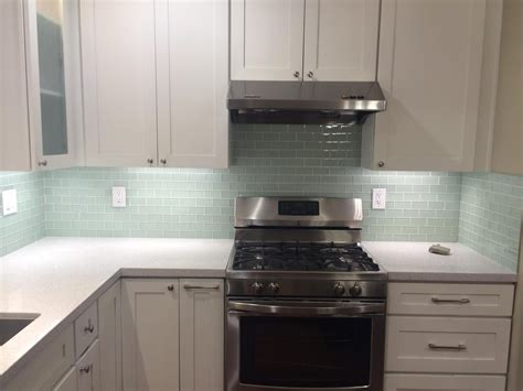 tile depot kitchen backsplash with arctic 2x4 glass