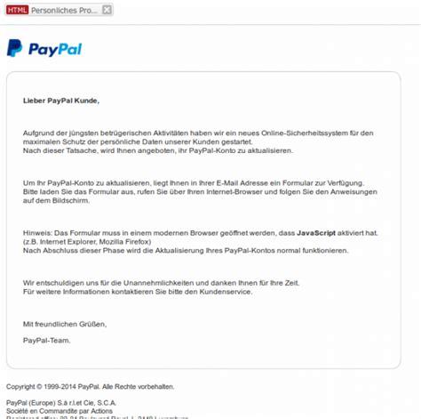 Personliches Anschreiben An Firma Sicherheit Jetzt Auch Noch Eine Paypal Mail Mit Html Formular Vr Kennung