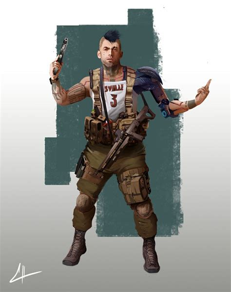 elysium gang member  guillermo talbott sci fi  cgsociety cyberpunk character