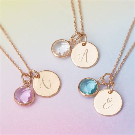 Birthstone Jewelry by Personalised Initial Birthstone Necklace By Bloom Boutique