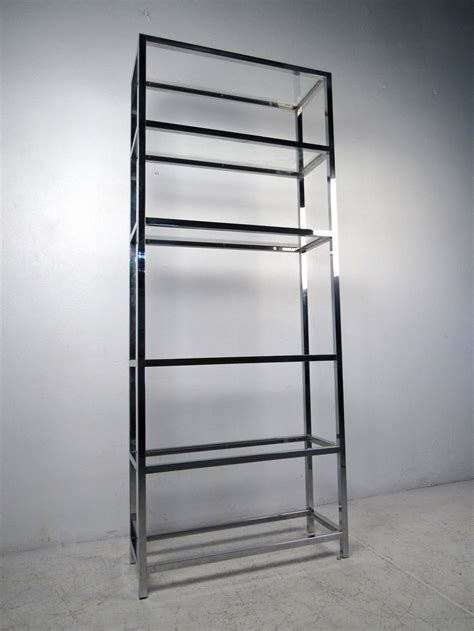 etagere glas mid century modern chrome and glass etagere for sale at