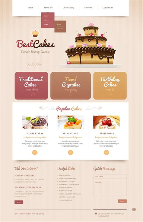 Cake Website Template by Bakery Responsive Website Template Web Design Templates
