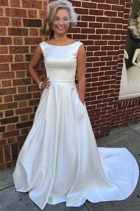 simple white satin long elegant charming wedding dresses