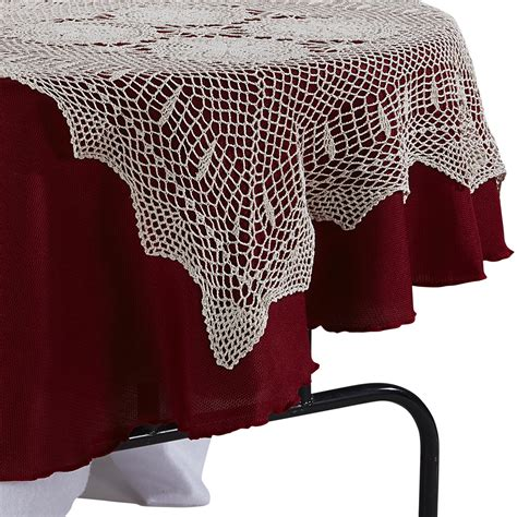 essential home square table topper crocheted lace home