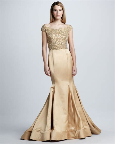 gold beaded gowns naeem khan beaded capsleeve mermaid gown in gold gold