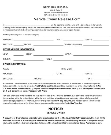 vehicle release form template sle vehicle release form 9 exles in word pdf
