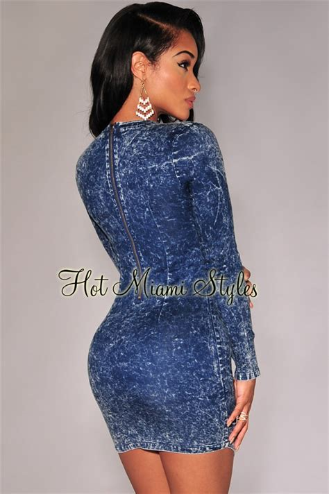 Denim Wash Mini Dress acid wash denim un even hem mini dress