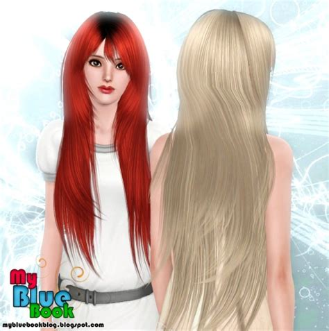 long hair with bangs sims2 very long with bangs hairstyle rose s 94 retextured by