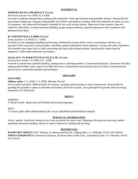 Resume Exles Free Sle Resume Template Cover Letter And Resume Writing Tips