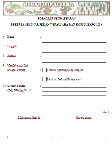 formulir pendaftaran lomba dan seminar kopma stain pekalongan