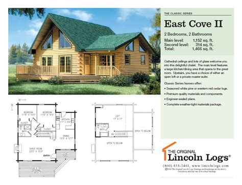 lincoln log homes floor plans log home floorplan east cove