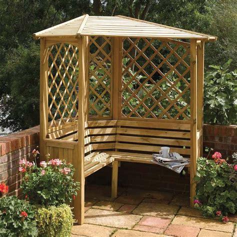 angled wooden garden arbour corner seat westmount