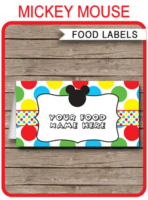 mickey mouse place card template mickey mouse food labels place cards mickey