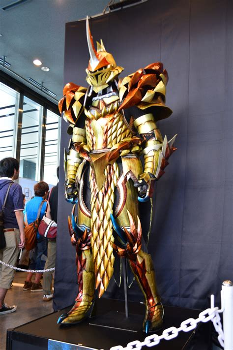 life size monster hunter weapons  armor displayed