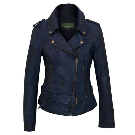 Jacket Navy zoe navy blue leather biker jacket hidepark