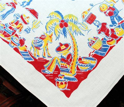 Mexican Table Cloth by Vintage Mexican Tablecloth Mexicali Mexican Print