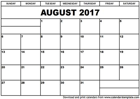 printable calendar for august 2017 august 2017 calendar template